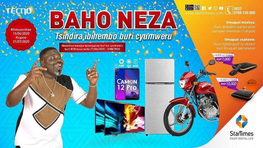 PROMOSIYO BAHO NEZA NA STARTIMES//WATSINDIRA MOTO, TV, SMART PHONES N'IBINDI